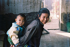 Grandma and grandson in a northern China village