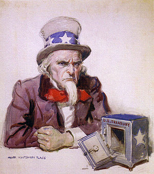 Uncle Sam with empty treasury, 1920, by James ...