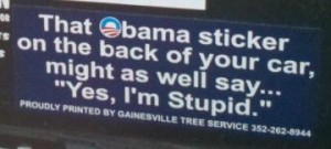 Bumper-Sticker-High-Springs-FL-Obama-sticker-stupid2-300x135